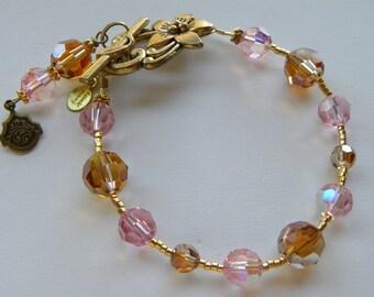 Pink Bracelet Pink and Brown Crystal Bracelet Copper Brown Swarovski Bracelet, Light Rose Pink Golden Brown Pink Gold Bracelet, Gift