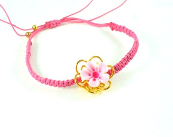 Pink  gold plated  bracelet with  resin blossom, flower
