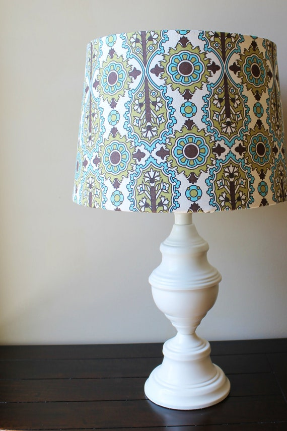 Cream Lamp Base with Modern Fabric Shade - OOAK