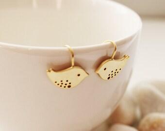 Sweet Love Birds Earrings. Gold. Everyday Wear. Gift For Her (SER-40)