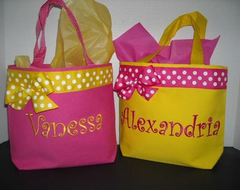 Personalized Small Tote Bag, Ribbon Trim, Free Monogram, Color Choices