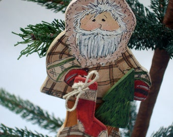 Personalized Christmas Ornament Hand Painted Woodland Santa
