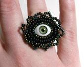 Green Evil Eye Ring - Adjustable - Evil Eye Ring - Gothic