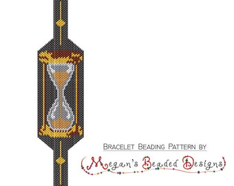 Hourglass Beaded Brick Stitch or Peyote Bracelet Pattern - For Personal or Commercial Use