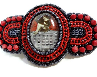 Barrette for Thick Hair - Red - Barrette - Beaded