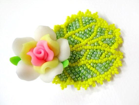 Clearance Cute Beaded Kawaii Flower Hair Clip