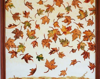 On  sale Maple Leaf original painting of falling leaves