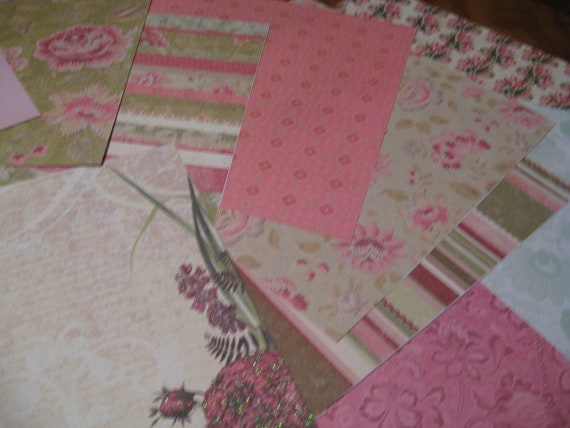 Scrapbook Craft paper 20 sheets of 12 x 12 inch paper A Palette of Pink and Green