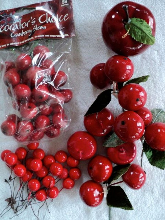 Artificial cranberry stems picks and an apple assortment for Artificial cranberries for decoration