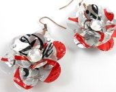 Simple Rose Earrings.  Recycled Soda Can Art.  DOUBLE-sided Earrings. Diet Coke