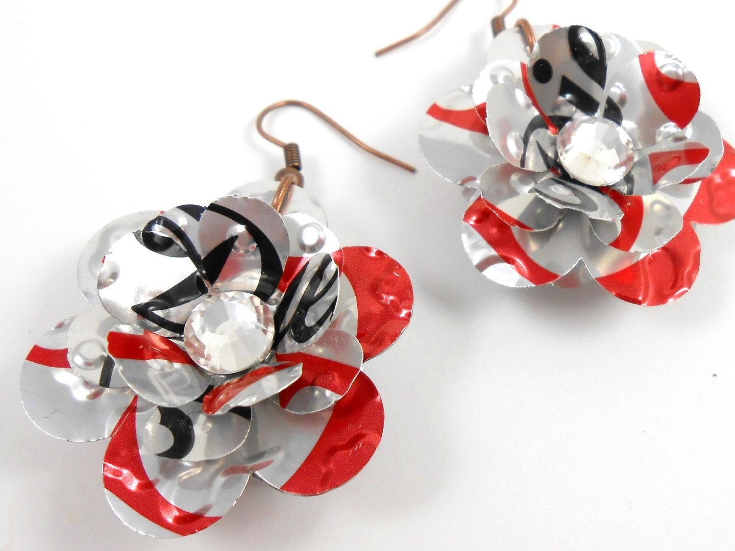Simple Rose Earrings Recycled Soda Can Art Double Sided