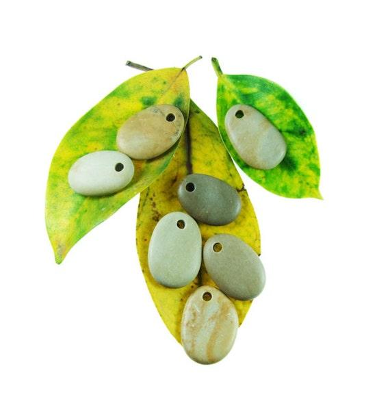 Top Drilled Beach Stones - Big Stones- 7 pcs Organic Beads
