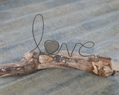 LOVE wire word and heart stone on driftwood sculpture Valentine gift or Wedding