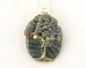Jubilant Glass Lampwork Tree Pendant     Borosilcate on Sterling Silver    Free Shipping - JubilantGlass