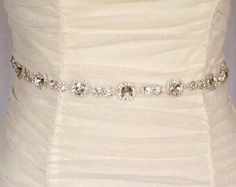 Olivia rhinestone crystal bridal belt  sash, wedding sash belt, bridal accessories, crystal belt sash