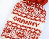 Personalised Knitted Red & White Scandinavian Fairisle hot water bottle Cosy