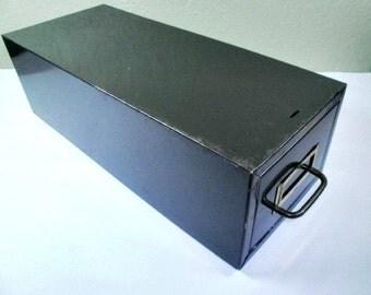 Vintage Cole Steel File Card Cabinet, Dark Green Steel, Brass Handled Storage, Industrial Chic Decor, Home Decor