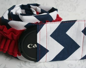 Ruffled Camera Strap Cover Padded with Lens Cap Pocket - Navy Blue Chevron with Red Ruffle - Americana- MADE TO ORDER