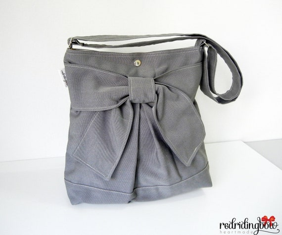 NEW - Pretty Bow Bag in Dark Gray With  Adjustable Strap