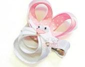 White  bunny ribbon sculpture hair clip / sculptured ribbon hair clip / baby hair clip / girl hair clip / barrette.