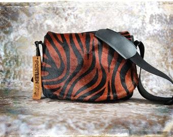 Tapestry and Tiger Cow Hair Leather Camera Satchel Bag DSLR- PRE-ORDER