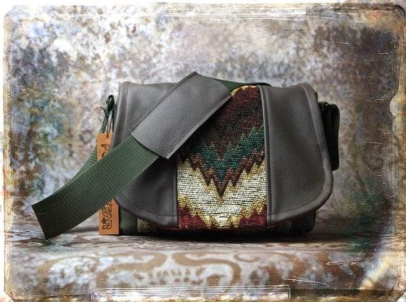 Leather Camera Bag  - Chevron Tapestry Leather Medium DSLR - In Stock