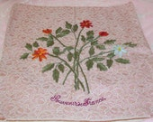 ANTIQUE, French Silk RIBBONWORK Embroidery Flowers Souvenir Pillow...SALE