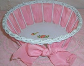 ANTIQUE Wood & Wicker Sewing, Boudoir Basket w/ Pink Silk Ribbon and ROSES Decals...SALE
