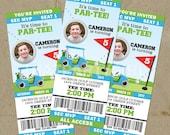DIY Golf PAR-TEE Birthday Party Ticket Style Invitations - Digital U Print
