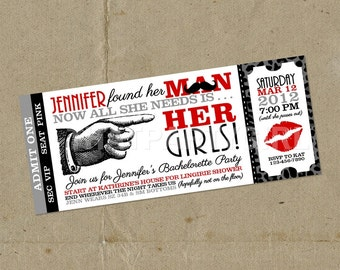 Bachelorette Party Ticket Invitations DIY digital file U Print