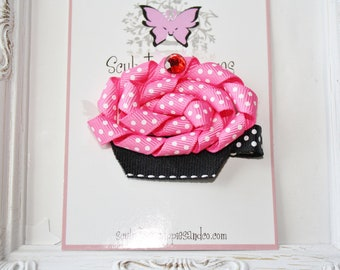 Sculpture Clippies Hot Pink Pink Cupcake Bow. Hot Pink Black Cupcake Sculpture Ribbon Clip. Free Ship Promo