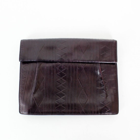 Fendi leather clutch / purple geometric tooled convertible envelope bag