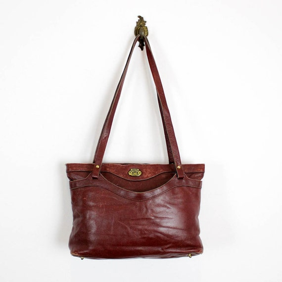 burgundy leather Aigner tote