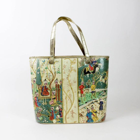 HOLD gold arabian tote bag 1960s structured purse
