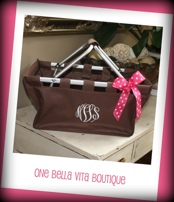 Personalized/ Monogrammed Collapsible Brown Original Market Tote