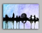 "London Skyline Watercolour Print 8"" x 11.5"" (A4) - Paint the Moment"
