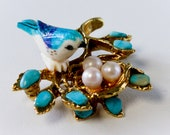 Vintage Bluebird in Nest Brooch - Designer Signed - Swoboda - Turquoise and Pearl