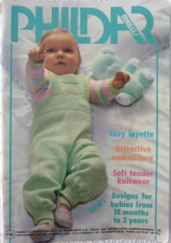 Phildar Knitting & Crochet Pattern Book Baby Layette