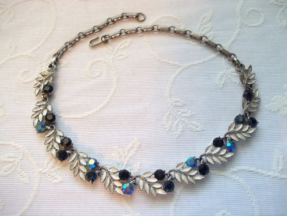 60's Blue Faceted Glass and Silver Toned Chunky Leaf Necklace