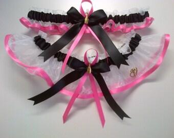 White, black and pink Wedding Garter Set any size, color or stile.
