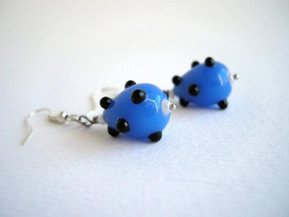 Blue glass beads earrings, drop earrings, minimalist earrings, teardrop earrings, gifts under 15, everyday jewelry, dangle earrings