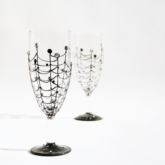 Spider Web Set of 2 Aperitif Glasses Hand Painted Black  and Swarovski crystals halloween