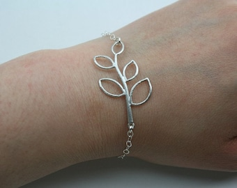 Leaf bracelet, silver branch bracelet, leaf jewelry - wedding jewelry, bridesmaid gifts, birthday, mother daughter friendship bracelet
