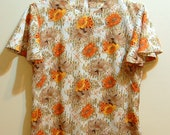M 70s Vintage Orange, Yellow, and Beige Floral Blouse