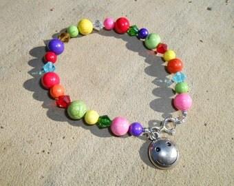 Dyed howlite children's SMILEY FACE charm bracelet