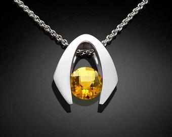 Citrine Necklace - Yellow - November Birthstone - Argentium Silver - Eco-Friendly - Gemstone Jewelry - 3425