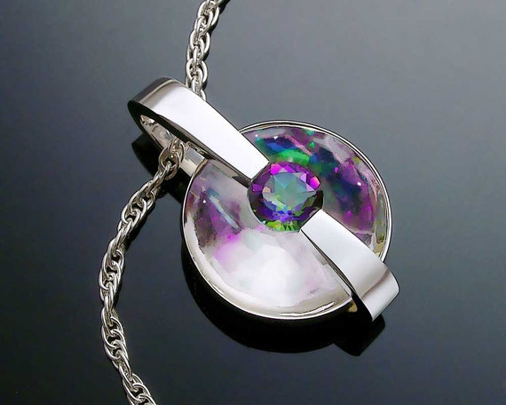 Silver Necklace - Mystic Topaz Necklace - Gemstone Jewelry - Argentium Silver - Rainbow Topaz - Designer Jewelry - 3499