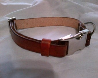 Adjustable Leather Dog Collar with Side Release Buckle - Large