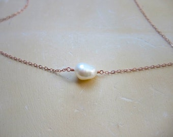 Pearl Solitaire Necklace on Rose Gold