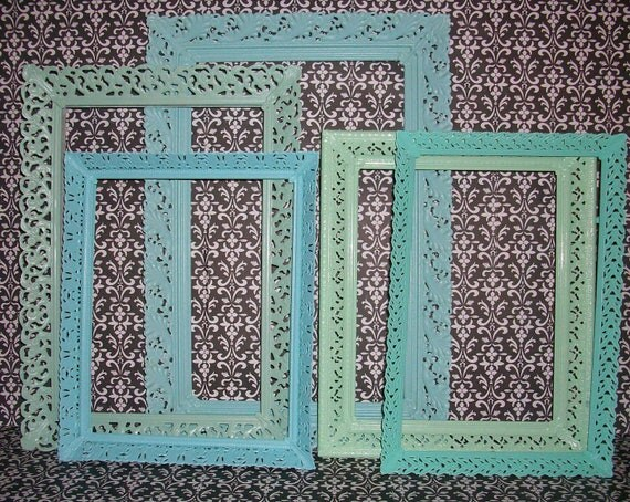 RESERVED PETUNIA 5 Vintage Filigree Picture Frames in Beach Colors